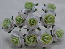 1.5cm MINT GREEN CENTER with WHITE Mulberry Paper Roses